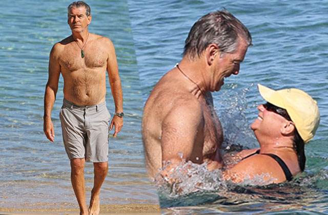 //pierce brosnan keely shaye smith pda beach pp