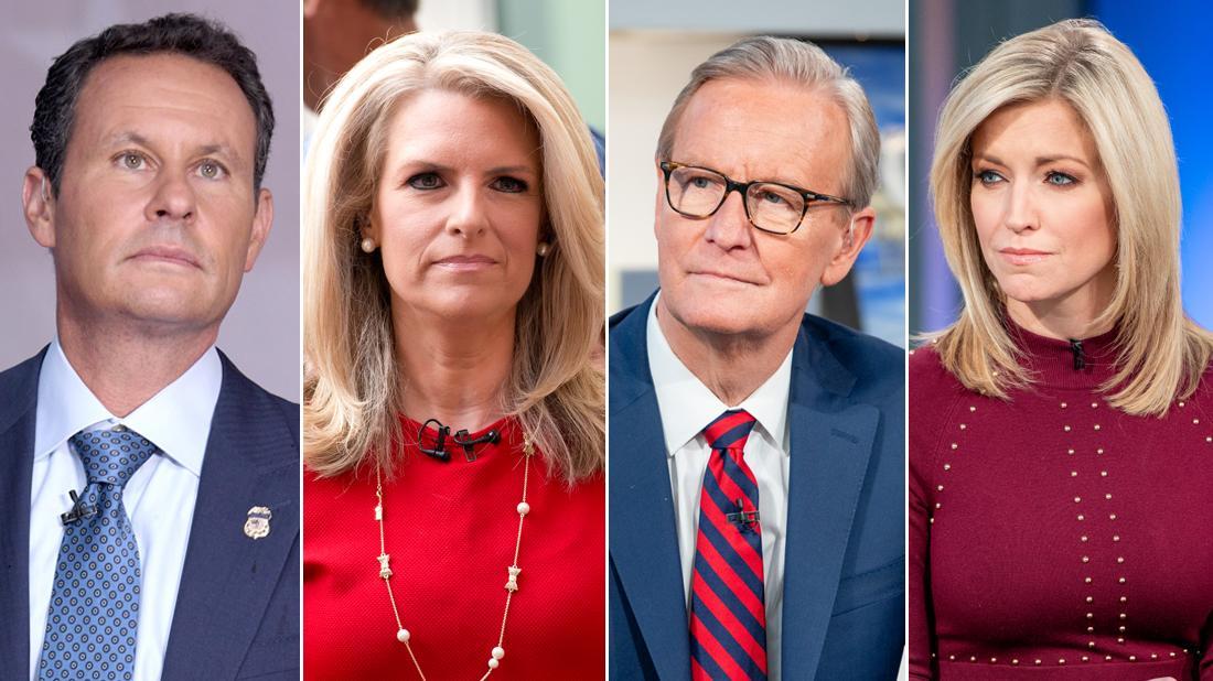 Fox & Friends Cast Co-hosts Steve Doocy, Ainsley Earhardt, Janice Dean and Brian Kilmeade Closeups Looking Serious