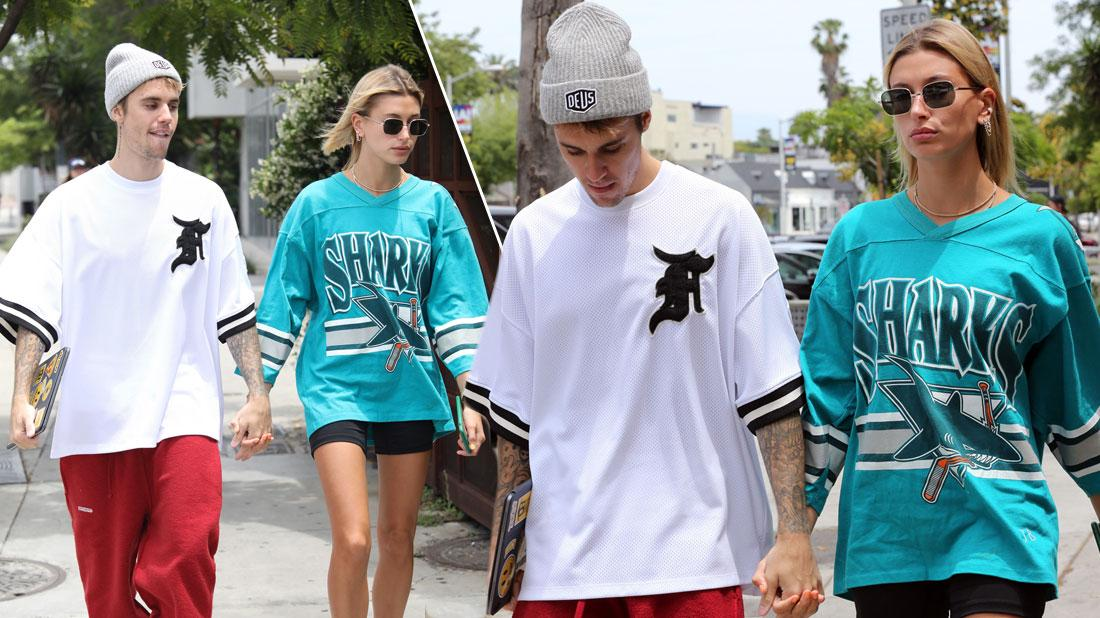 Justin Bieber & Hailey Baldwin Hold Hands In Oversized Jerseys