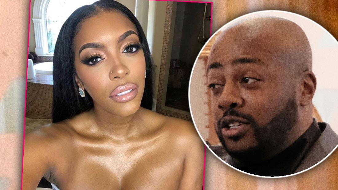 Porsha Williams Selfie with Inset of Dennis McKinley looking at her