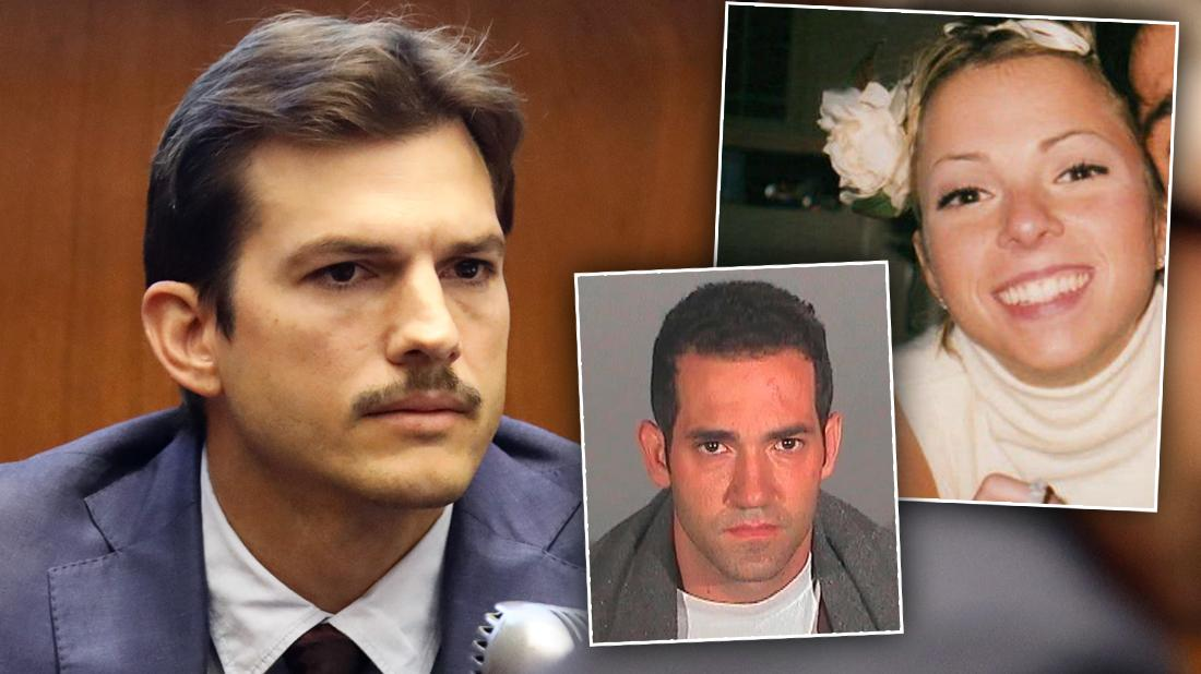 Ashton Kutcher Sits in Courhouse Wearing Navy Suit Looking Serious With Inset of Girlfriend Ashley Ellerin Smiling and Michael Gargiulo Mug Shot