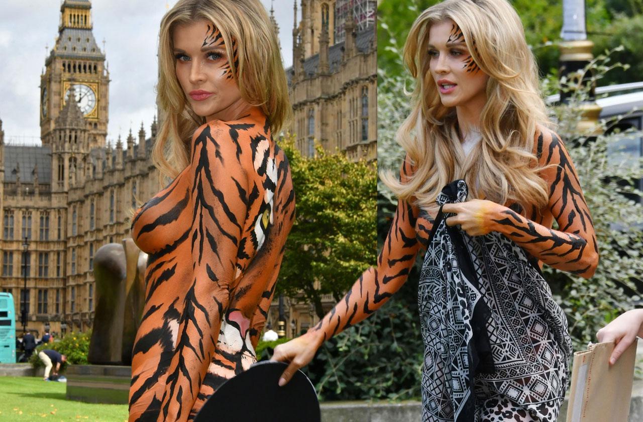 //Joanna Krupa painted tiger PETA pp