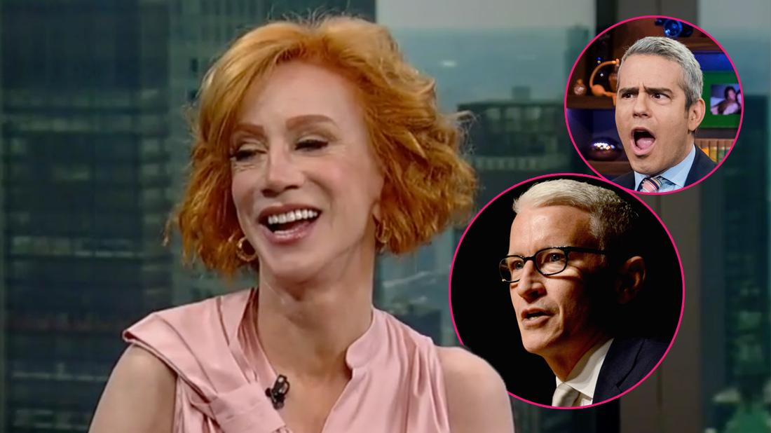 Kathy Griffin on Fox 5 for an exclusive interview. Inset bottom left corner, Anderson Cooper. Inset middle right, Andy Cohen.