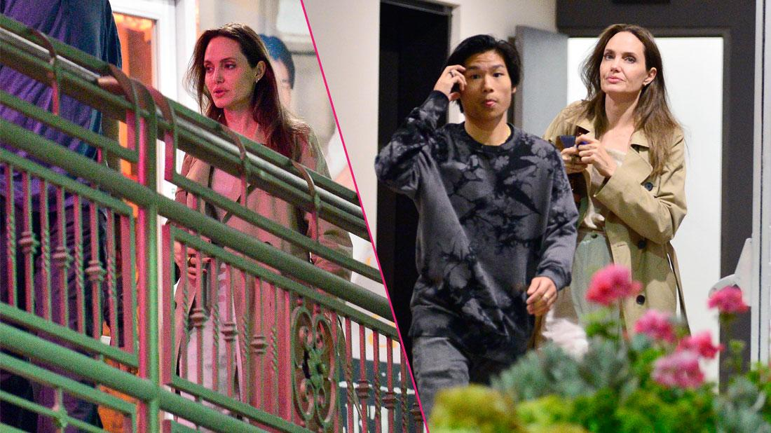 A make up free Angelina Jolie spends the night with her son Pax as they leave sushi park restaurant in West Hollywood.