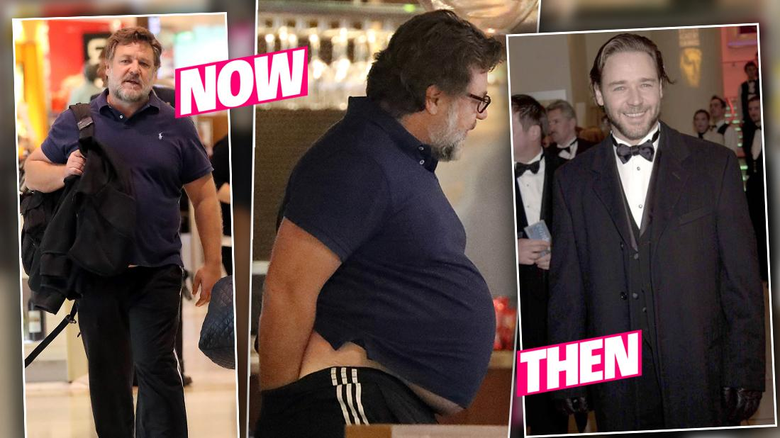 Russell Crowe Shows Off Weight Gain While With New Assistant