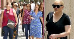 Meghan McCain Leaving the View Wearing A Black Top And Flowered Pants Walking With Friends