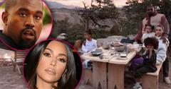 Inset Of Kim Kardashian, Inset Of Kanye West Kim And Kanye with Children Sitting At Picnic Table In Wyoming With Mountans And Sunset In The Background