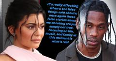 Kylie Jenner Wearing Pink And Travis Scott Wearing Diamond Necklace and Gray Blazer Inset of Post