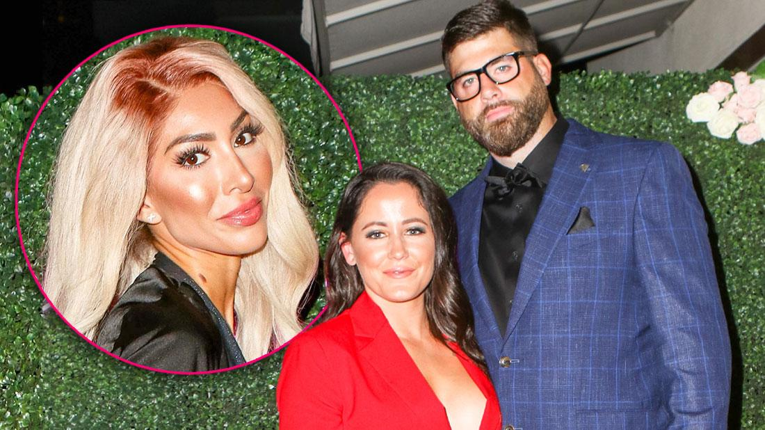 Inset Of Farrah Abraham, Jenelle Evans Wearing Red Suit Standing With Husband Davis Eason Wearing Blue Window Pane SBlazer, Black Pants and Shirt