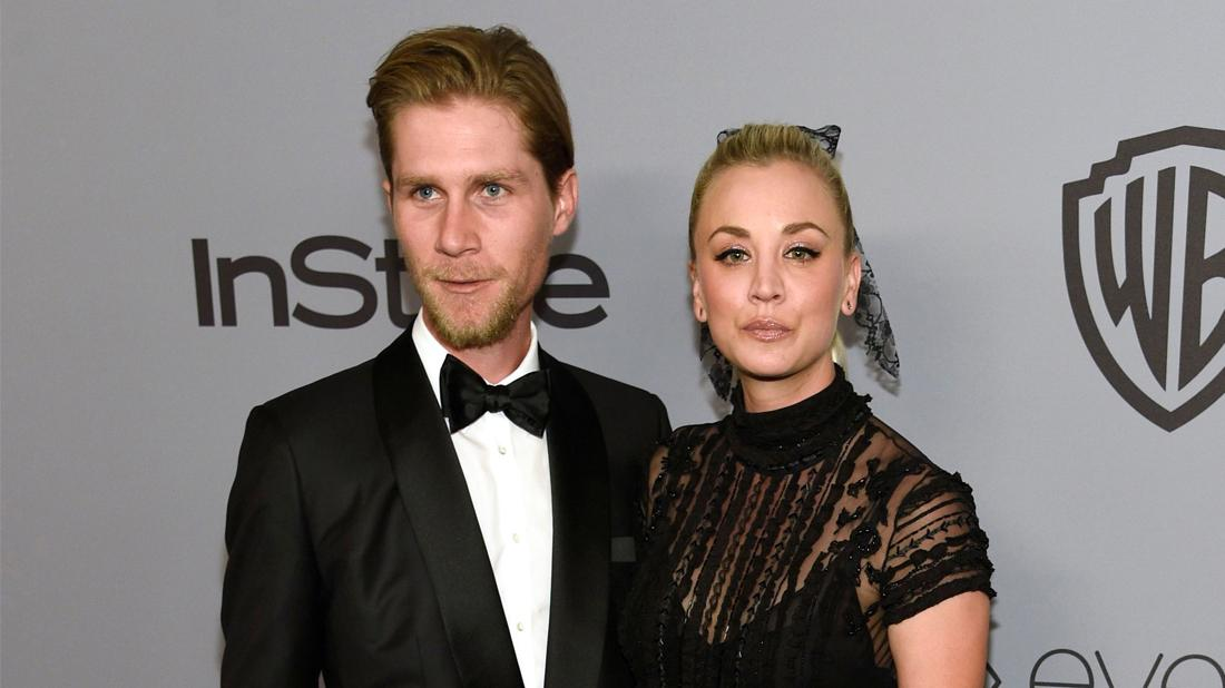 Karl Cook, left, and Kaley Cuoco arrive at the InStyle and Warner Bros. Golden Globes afterparty at the Beverly Hilton Hotel