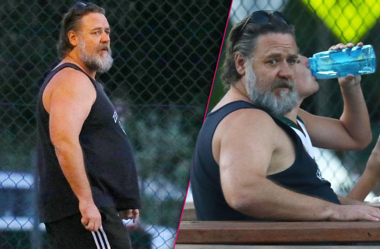 //russel crowe pudgy star basketball son pp