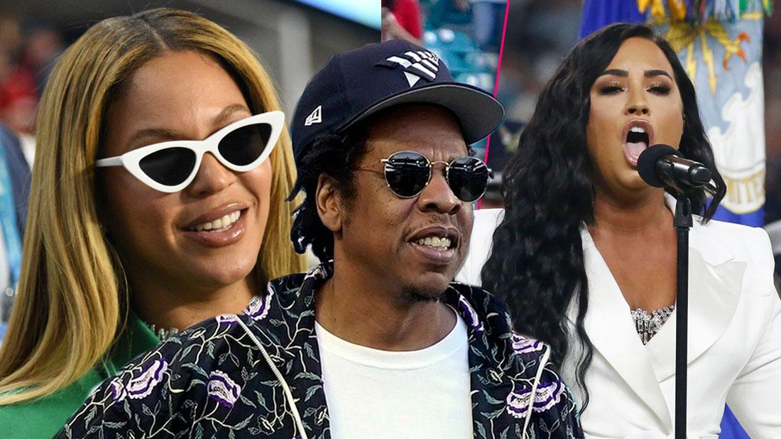 Beyonce, Jay-Z, Demi Lovato; Fans Slam Beyonce For Sitting During Super Bowl National AnthemFans Slam Beyonce For Sitting During Super Bowl National Anthem