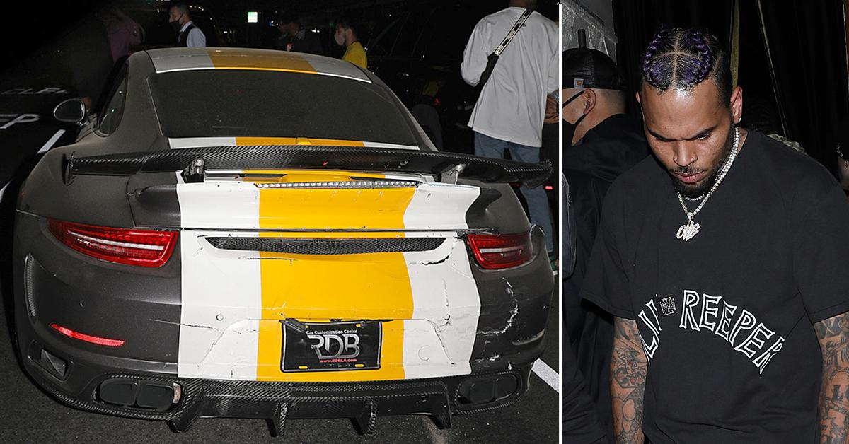 chris brown porsche hit by drunk driver in west hollywood