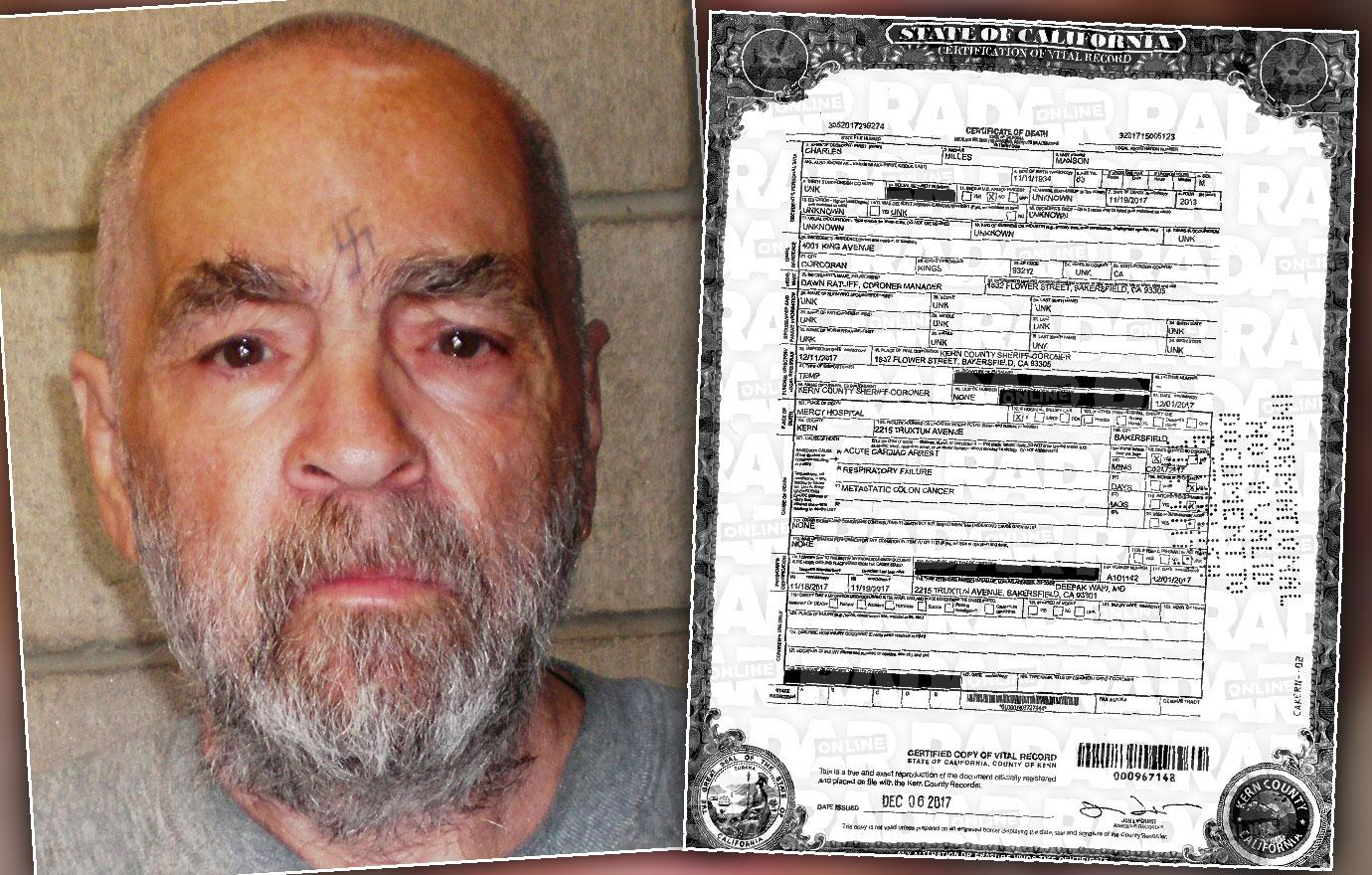 Charles Manson Death Certificate Revealed