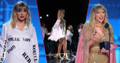 Taylor Swift Strips Off Shirt With Old Album Names At AMAs