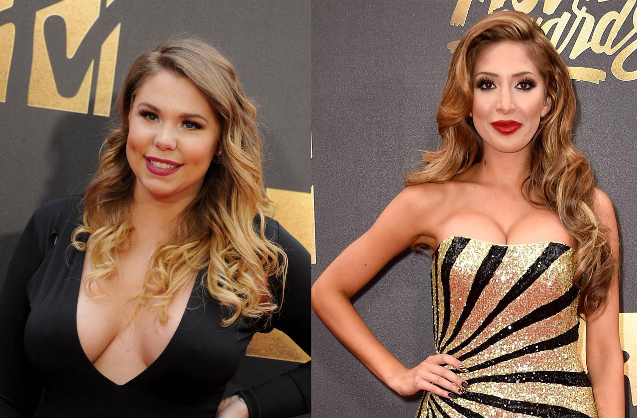 Kailyn Lowry showing off ample cleavage at the 2016 MTV Movie Awards and Farrah Abraham, involved in a porn scandal, almost suffers a wardrobe malfunction