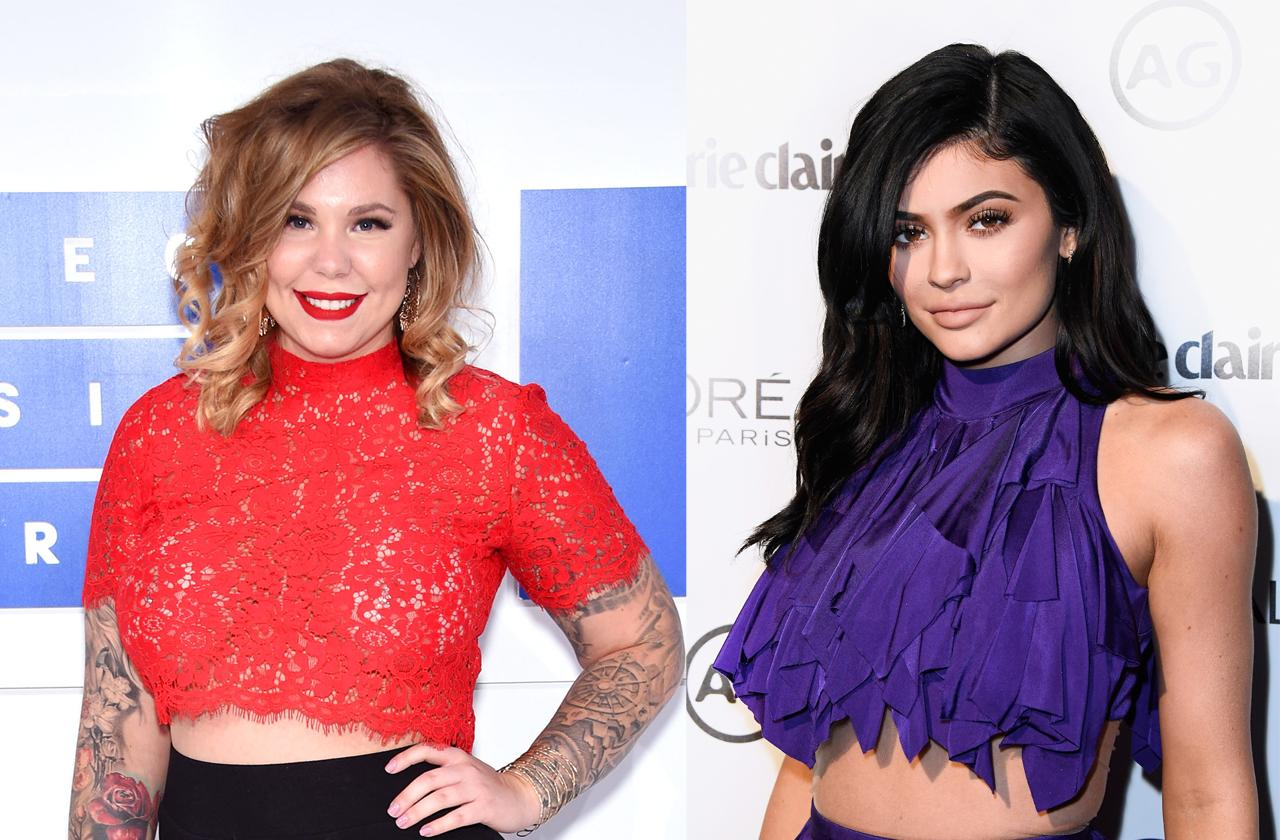 Kailyn Lowry in a see-through red top at the 2016 MTV Video Music Awards and Kylie Jenner showing her belly at Marie Claire's Image Maker Awards 2017