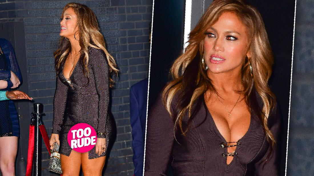Jennifer Lopez flashes nude knickers as she suffers