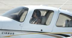 Angelina Jolie in the cockpit of her plane.