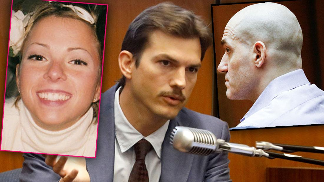 Left Ashley Ellerin ,Ashton Kutcher's former girlfriend and a mom of four, Ashton Kutcher Testifying In Court, Far Right Michael Gargiulo Guilty of Murder