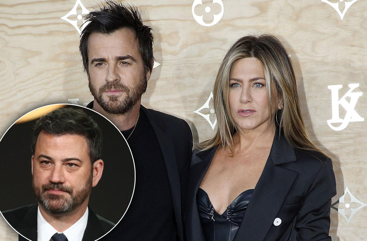 jimmy kimmel warns justin theroux jennifer aniston heartbreak