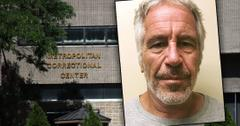 Front of the Metropolitan Correctional Center, NYC inset of Jeffrey Epstein Mug Shot