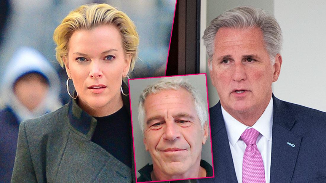 Photo Split Of Megyn Kelly Wearing Gray Blazer And Black Turtle-Neck, Congressman Kevin McCarthy Wearing Blue Suit, Pink Tie, White Shirt, Inset Jeffrey Epstein Mugshot