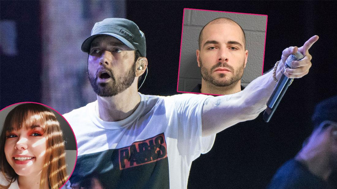 Main, Eminem is seen performing. Inset left, Whitney Scott Mathers. Inset right, Eric Hartter's mugshot.