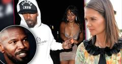 Insetof Jamie Foxx, inset of Jamie Foxx Wearing White Hoodie & Sela Vave Wearing Taupe Dress together, photo of Katie Holmes Wearing Floral Black Trim Dress