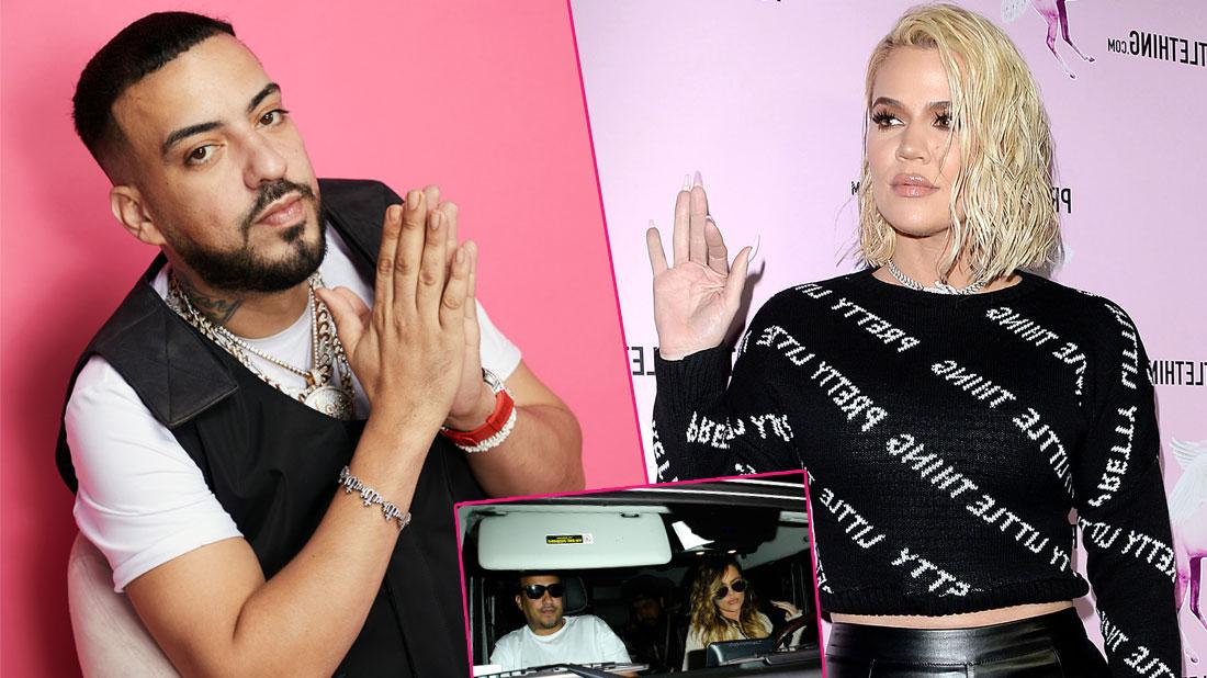 Left, French Montana wearing a faux bullet proof vest. Right, Khloe K in a shirt that says pretty little thing while waving. Inset at center-bottom, a photo of when they were together.