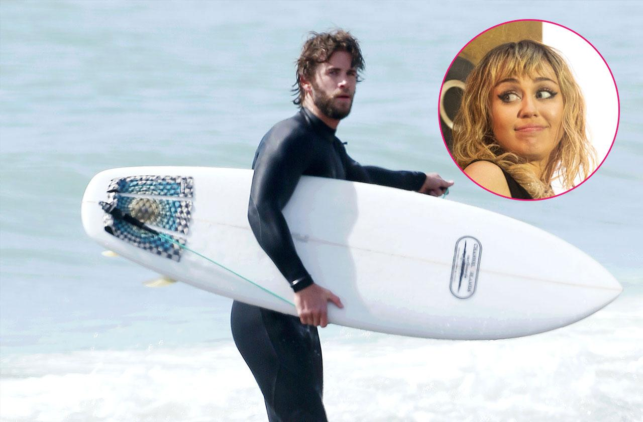 Liam Hemsworth out and about, Los Angeles.Liam Hemsworth out and about, Los Angeles. Inset, Miley Cyrus.