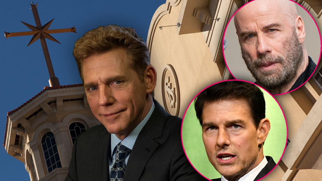 Chrurch of Scientology Building in Background With David Miscavige and Inset Circles of Tom Cruise and John Travolta