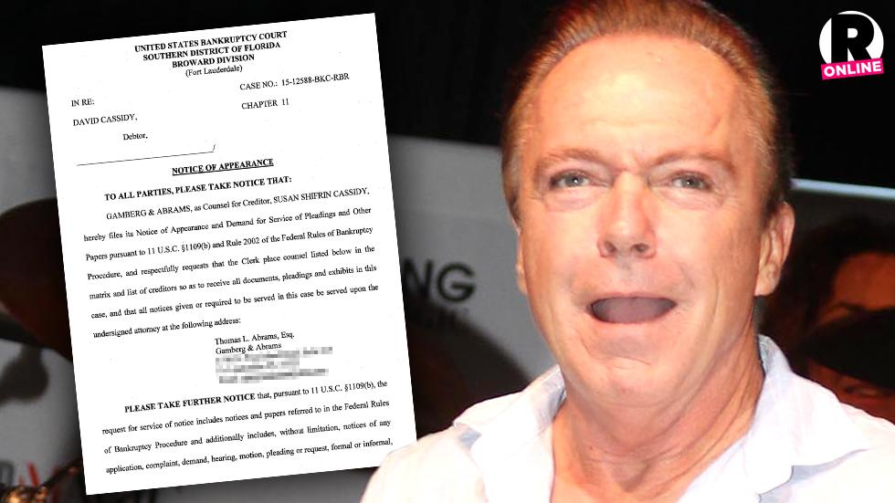 David Cassidy Bankruptcy Wife