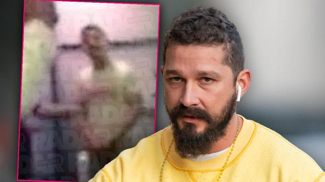 Shia LaBeouf With Full BeardWalking Down the Street Wearng AirBuds and Yellow Sweatshirt, Inset Shia LaBeouf Ranting at Bar
