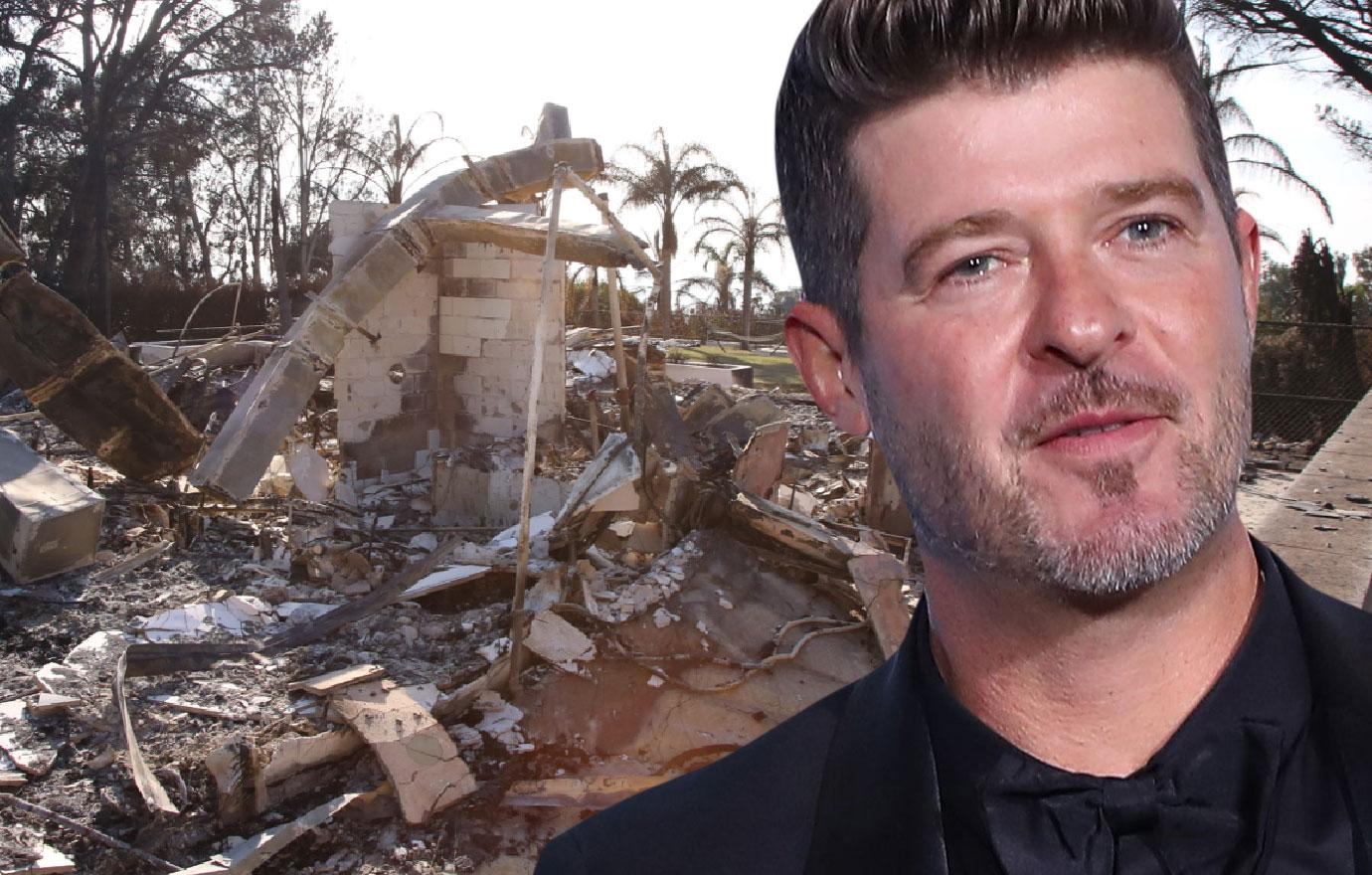 See Robin Thicke's Burned Down House Photos