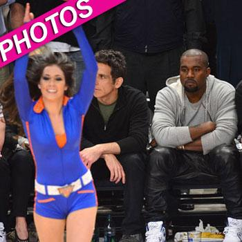 //kanye west eyes knicks cheerleaders wireimage