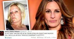 //julia roberts half sister nancy dabbs dilbeck twitter slam overdose abandoned wide