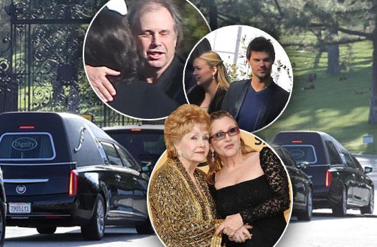 Carrie Fisher Debbie Reynolds Funeral Cemetery Billie Lourd Arrivals