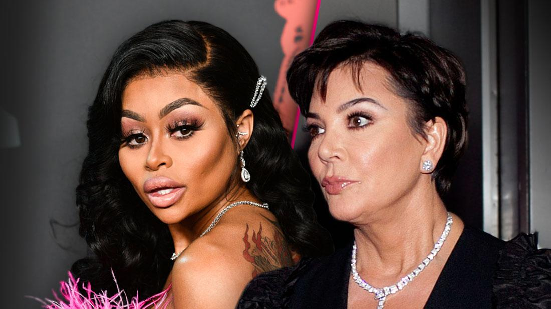Blac Chyna Looking Over Her Left Shoulder Wearing Pink Feather Dress Split With Angry Kris Jenner Looking Left Wearing BlackSuit With Diamond Necklace