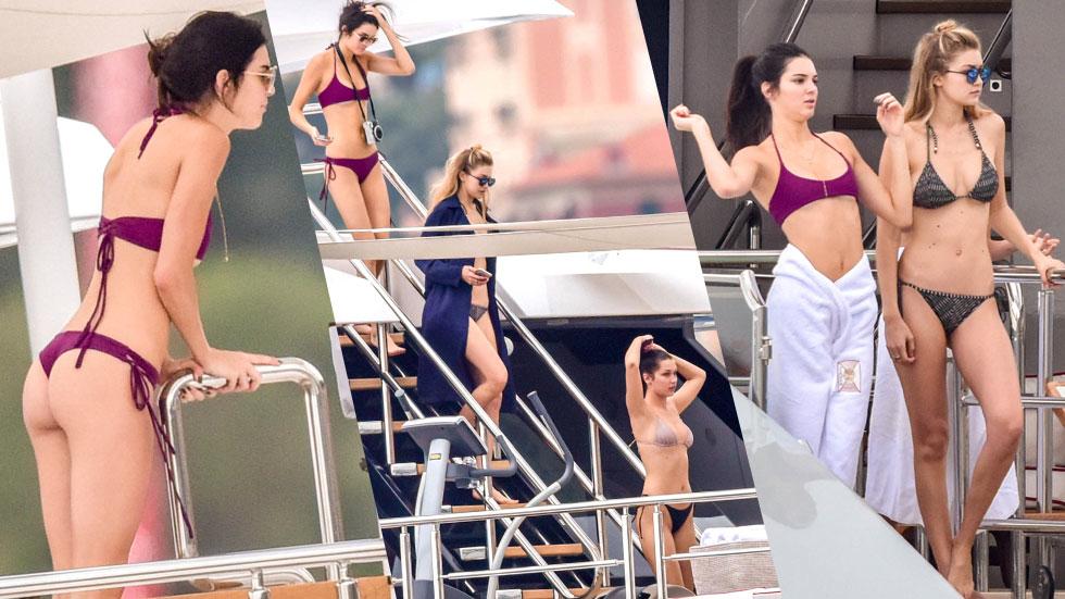 //gigi hadid with kendall jenner in bikini on yacht