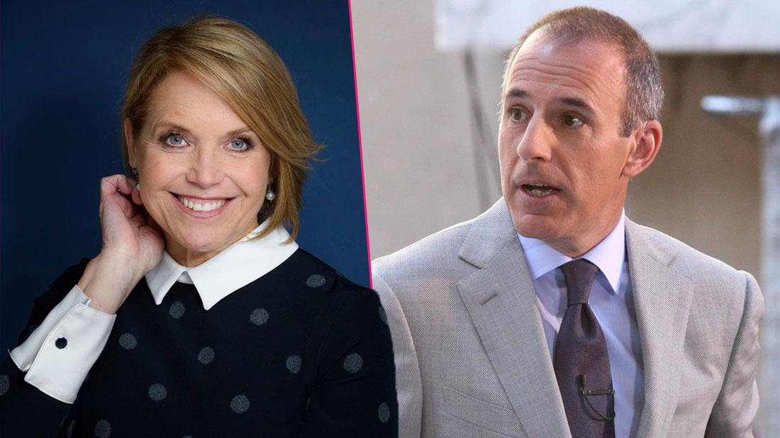 Matt Lauer attends Justin Bieber's concert on the 'Today' show where it mostly rained during his performance; Right, Katie Couric poses for a photo in New York Katie Couric Portrait Session