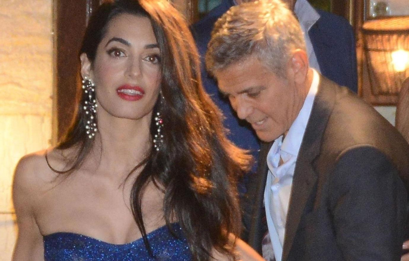 //george clooney and amal dine out with matt damon and luciana barroso in italy pp