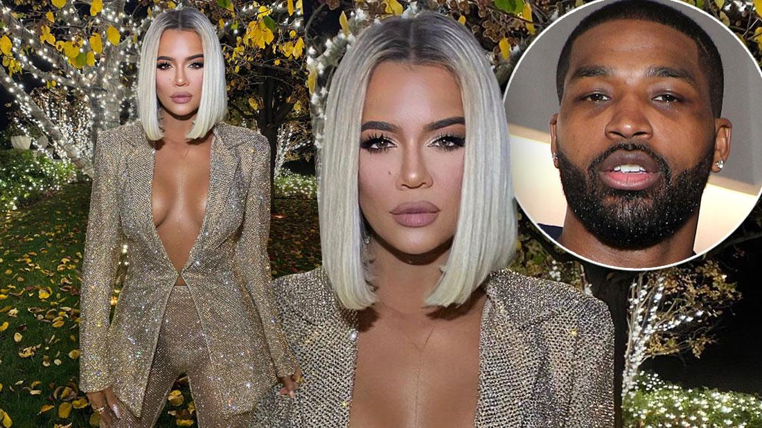 Khloe Kardashian In Sheer Sparkle Suit Inset Tristan Thompson